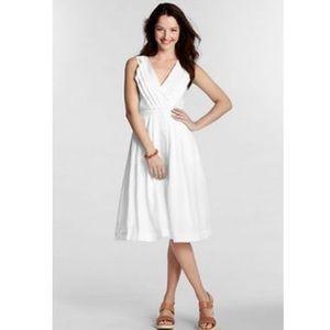 Lands End White Linen Sleeveless V Neck Dress